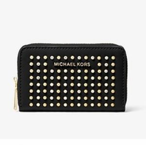 MICHAEL KORS SMALL STUDDED LEATHER WALLET